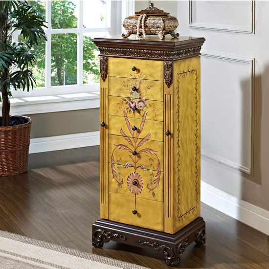 CabinetOrganizers Hand Painted Jewelry Armoire Hand Carved with