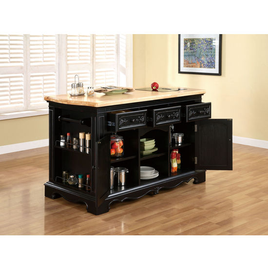 Pennfield Kitchen Island with Black Finish Base and Natural Finish Top by Powell