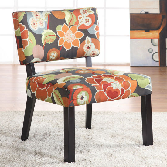Bright Floral Print Accent Chair