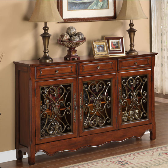 Walnut 3-Door Scroll Console