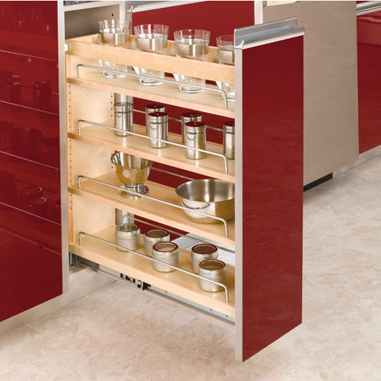 Pull Out Drawer Kitchen Cabinet Specs: Adjustable Wood Pull-Out Organizers
