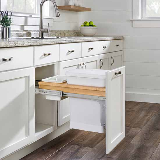 """Single Wood Top Mount Pull-Out 6-gallon White Compo + Container with Ball-Bearing Soft-Close Slides, Minimum Cabinet Opening: 12""""W x 22-7/8""""D x 18""""H"""