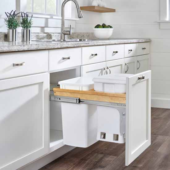 """Wood Top Mount Pullout with Single White 6-gallon Compo + Single White Quart (8.75 Gallon) Container w/ Ball-Bearing Soft-Close Slides, Minimum Cabinet Opening: 15""""W x 22-7/8""""D x 21""""H"""