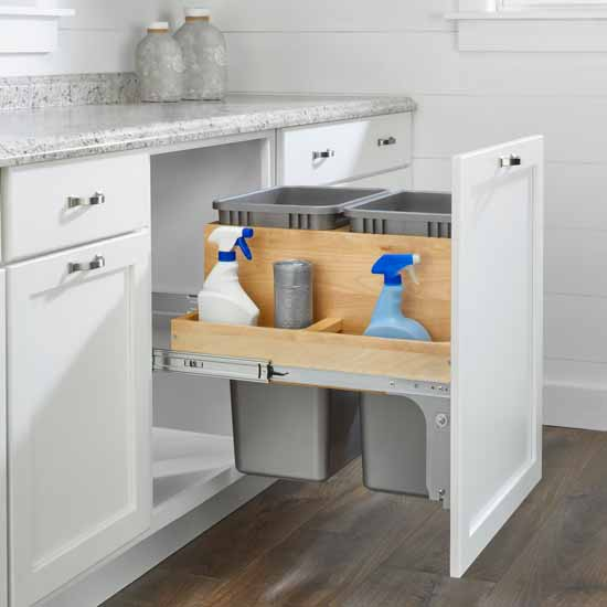 "Double 50 Quart (12.5 Gallon) Pullout Top Mount Wood and Silver Waste Container with Ball-Bearing Soft-Close Slides, Minimum Cabinet Opening: 21""W x 22-1/2""D x 23""H"