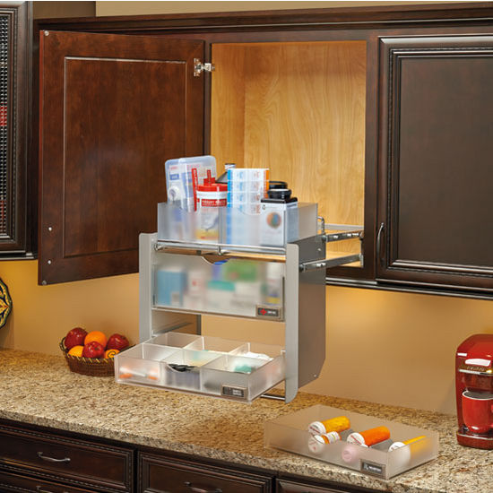 Universal Cabinet Pull Down Shelf System For 24 Wall