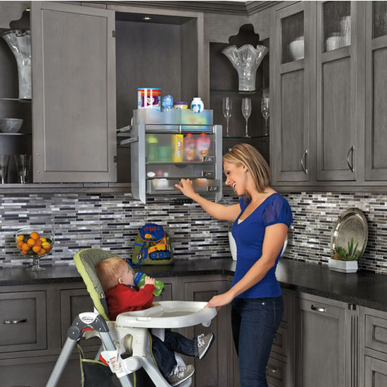 Universal Cabinet Pull Down Shelf System For 24 Wall Cabinets By Rev A Shelf Kitchensource Com