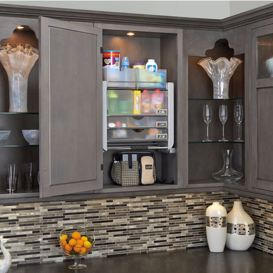 Kitchen Cabinet Pull Down Shelves: Universal Cabinet Pull Down Shelf System For 24'' Wall