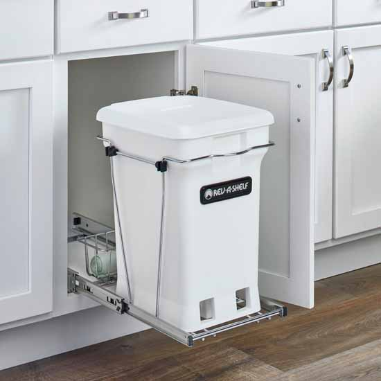 """Single White 6-gallon Compo+ Container Waste Pullout with Chrome Wire Bottom Mount, Minimum Cabinet Opening: 10-3/4""""W x 18-15/16""""D x 17-29/32""""H"""