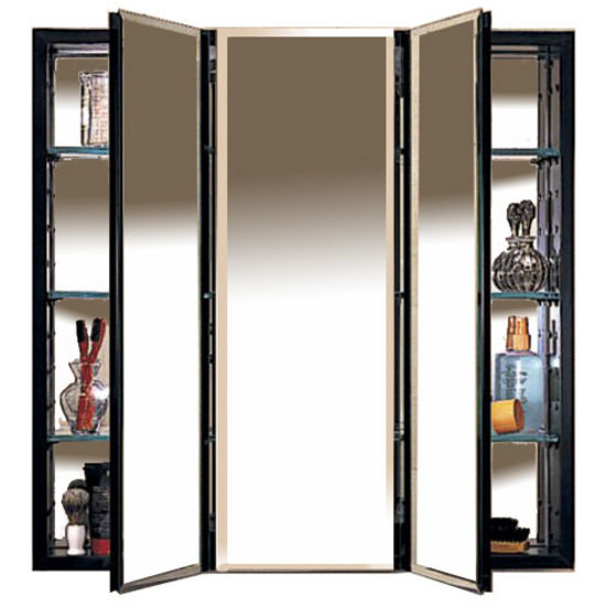 Robern PLM Series Three Door Concealed Surface Mounting Medicine Cabinet  With Beveled Mirrors And Black Or White.
