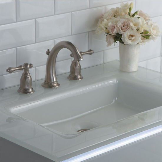 Robern White Gl Vanity Top W Integrated Sink Single Hole Or 8 Widespread