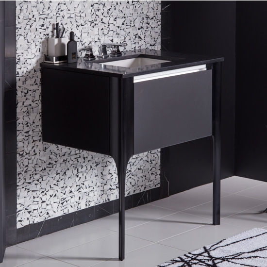 Robern Balletto Collection Single Drawer Bathroom Vanity with Night Light and Plumbing Drawer in Multiple Sizes and Color Options