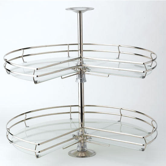 "Rev-A-Shelf 32"" Diameter Kidney Compagnucci Lazy Susan, Soft Champagne ""Flute"" Finish with Stylinox™ Tempered Safety Glass"
