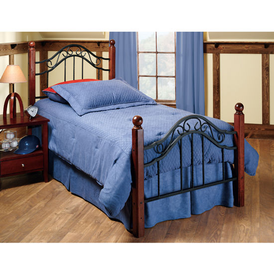 Hillsdale Furniture Madison Collection Twin Bed Set with Rails in Textured Black (Set Includes: Headboard, Footboard and Rails)
