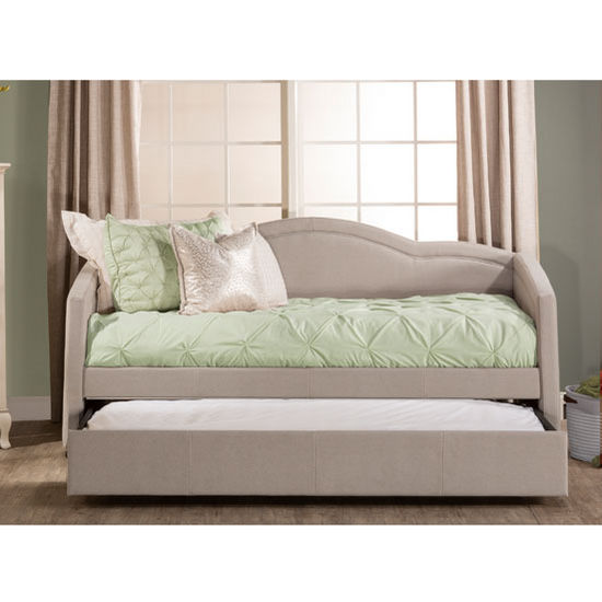 "Hillsdale Furniture Jasmine Collection Daybed with Trundle in Dove Gray Fabric, 83-1/2"" W x 41-1/2"" D x 39-3/4"" H"