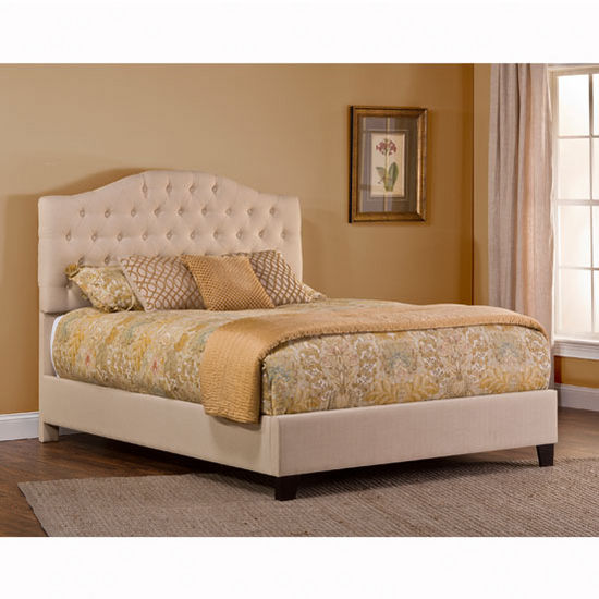 Hillsdale Furniture Jamie Upholstered Queen or King Bed Set with Rails in Linen Beige (Set Includes: Headboard, Footboard and Rails)