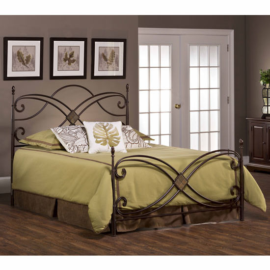 "Hillsdale Furniture Barcelona Bed Set, with Rails, Antique Copper Finish, 54"" W x 77-1/2"" D x 52"" H"