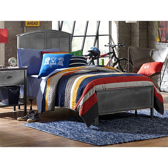 "Hillsdale Furniture Urban Quarters Twin Size Panel Bed Set with Rails Included in Black Steel Finish, 40-1/4"" W x 71-1/4"" D x 50"" H"