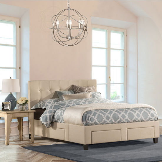 twin full queen or king size duggan front storage bed with rails in linen beige set includes. Black Bedroom Furniture Sets. Home Design Ideas
