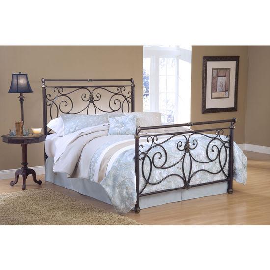 Hillsdale Furniture Brady Bed Set in Antique Bronze with Satin Beige Frame