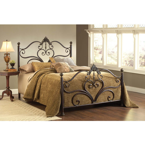 Hillsdale Furniture Newton Collection King Bed Set with Rails in Antique Brown Highlights (Set Includes: Headboard, Footboard and Rails)
