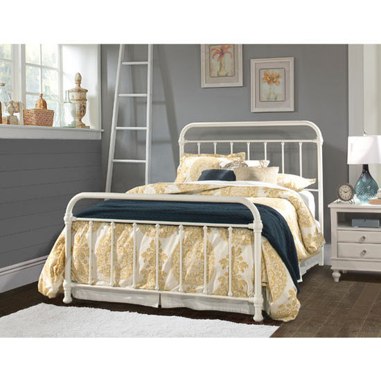 "Hillsdale Furniture Kirkland Collection in Multiple Sizes Bed Set with Bed Frame Included in Soft White, 40"" W x 76-3/4"" D x 54"" H"