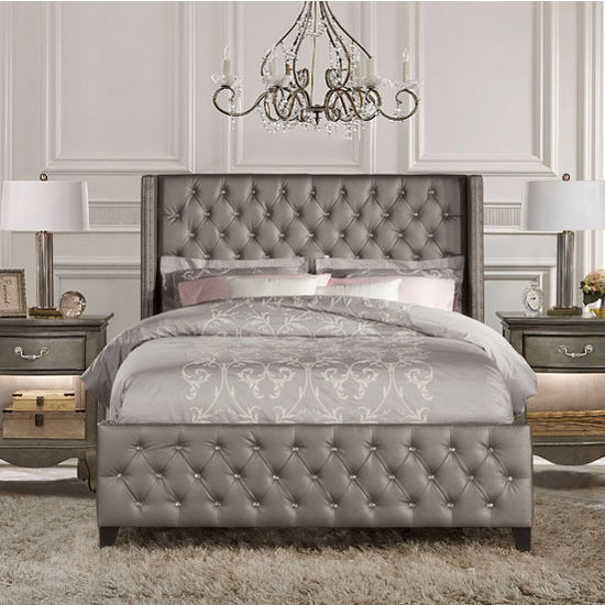 Hilale Furniture Memphis Bed Set With Rails In Diva Textured Pewter Faux Leather