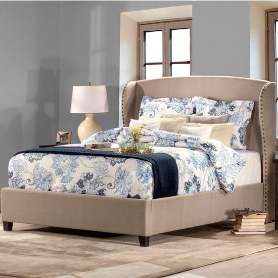 Hillsdale Furniture Lisa Bed Set with Rails in Light Taupe Linen, (Set Includes: Headboard, Footboard and Side Rails)