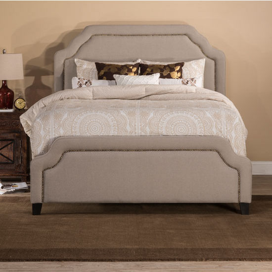 queen king or cal king size carlyle bed set with rails in light taupe set includes headboard. Black Bedroom Furniture Sets. Home Design Ideas