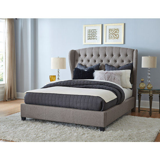 Hillsdale Bromley King Bed Set with Bed Rails, Orly Gray Finish