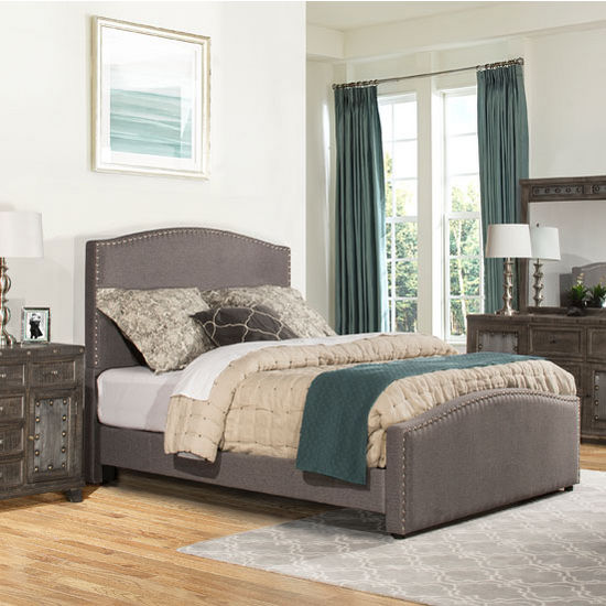 "Hillsdale Furniture Kerstein Collection in Multiple Sizes Bed Set with Rails Included, Orly Gray Fabric, 65"" W x 91"" D x 58-45/64"" H"