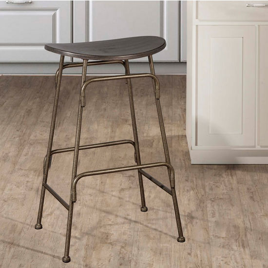 "Hillsdale Furniture Mitchell Collection Non-Swivel Backless Counter Stool with Black Finished Wood Seating and Old Bronze Metal Frame, 18-1/2"" W x 15-1/8"" D x 26-1/2"" H"