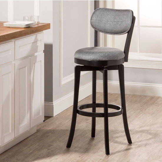 Hilale Furniture Sloan Swivel Stool Black Frame With Slate Gray Fabric Seat