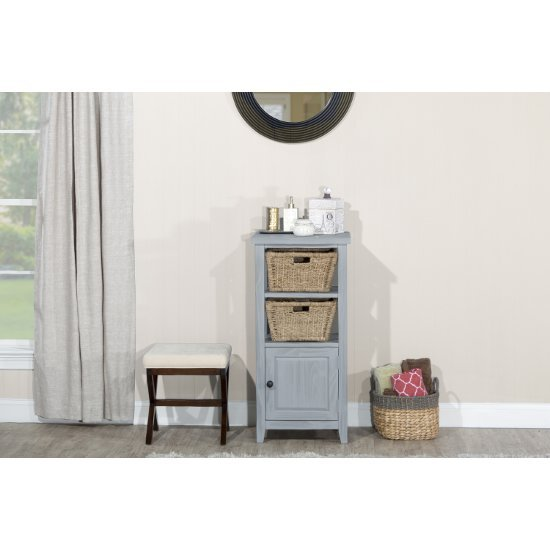 "Hillsdale Furniture Tuscan Retreat ® Basket Stand with (2) Baskets in Powder Blue Wood (Wirebrush) Finish, 20"" W x 16"" D x 42"" H"