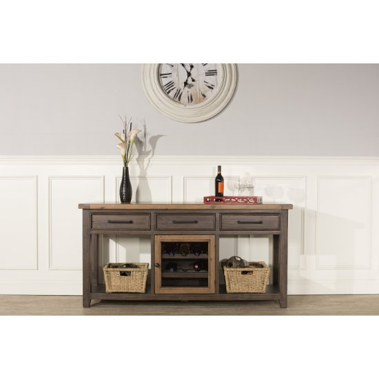 "Hillsdale Furniture Tuscan Retreat ® Sofa Table with Wine Rack and (2) Baskets  in Caf� Sua Two-Tone / Brushed Bronze Finish, 67"" W x 18"" D x 33"" H"