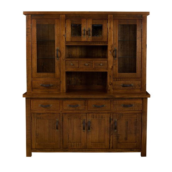 Hillsdale Furniture Outback Collection Buffet and Hutch in Distressed Chestnut, 69'' W x 18-4/5'' D x 79-1/2'' H