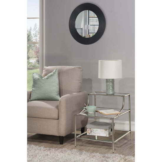 """Hillsdale Furniture Corbin Step Table with (3) Glass Shelves in Silver with Black Rub Finish, 20"""" W x 20"""" D x 24"""" H"""