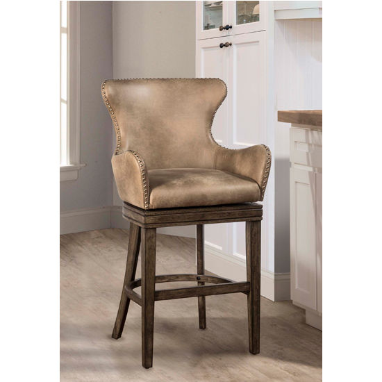 Hilale Furniture Caydena Swivel Counter Or Bar Stool W Upholstered Taupe Faux Leather Seat Bronze Nailhead Trim Rustic Gray Finish Kitchensource