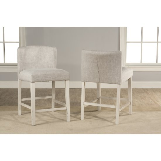 """Hillsdale Furniture Clarion Non-Swivel Wing Arm Counter Height Stool, Set of 2 in Sea White Finish and Fog Fabric , 20"""" W x 25"""" D x 35-1/2"""" H"""