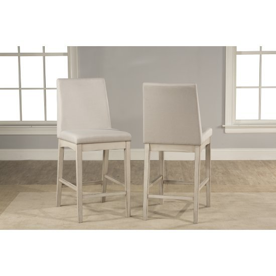 """Hillsdale Furniture Clarion Non-Swivel Parson Counter Height Stool, Set of 2  in Sea White Finish and Fog Fabric , 17-1/2"""" W x 22-1/2"""" D x 41-1/4"""" H"""