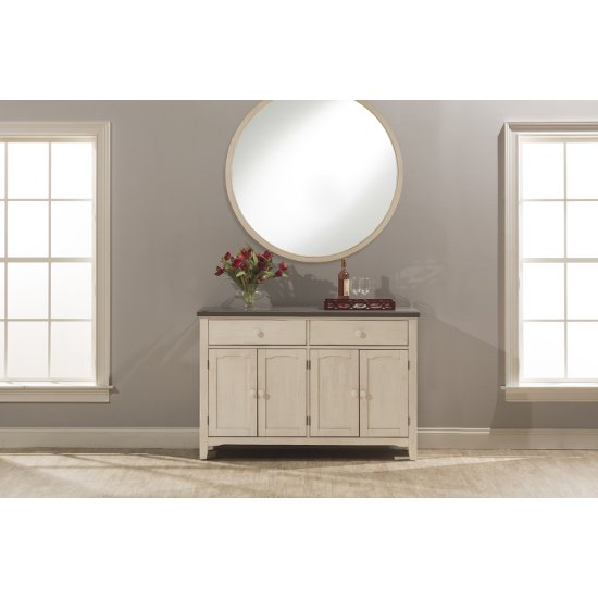 "Hillsdale Furniture Clarion Server in Distressed Gray Top / Sea White Base Finish, 54-1/8"" W x 17"" D x 36-1/4"" H"