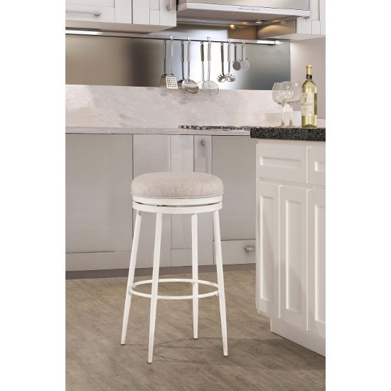 Counter Stool Off White & Silver Fabric