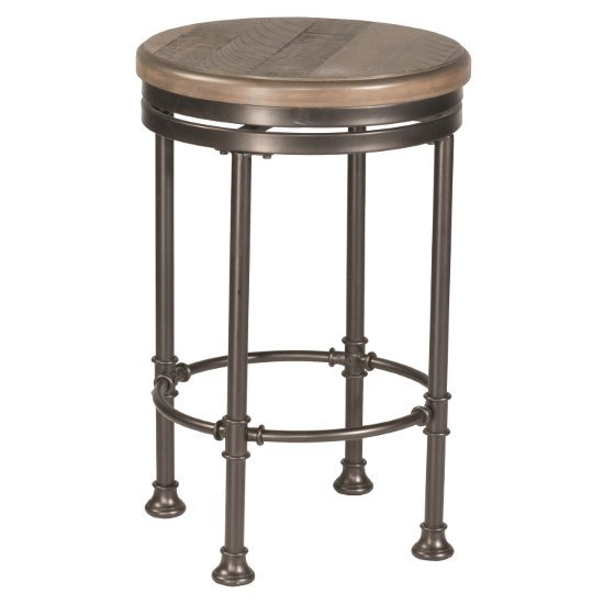 """Hillsdale Furniture Casselberry Swivel Backless Round Counter Stool  in Distressed Walnut Wood / Brown Metal Finish, 17-3/16"""" Diameter x 26-1/4"""" H"""