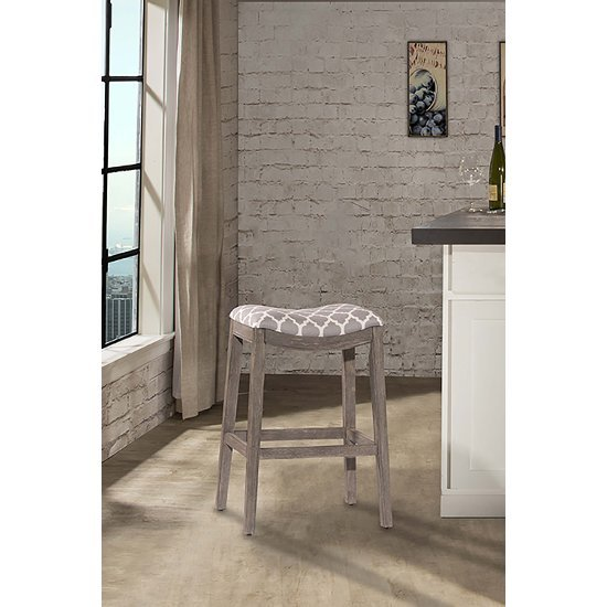 Counter Stool Gray & Trellis Gray Fabric