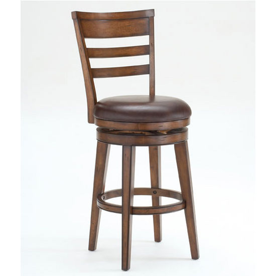 Hillsdale Furniture Villagio Swivel Counter Stool - Ladder Back, Dark Chestnut Finish, Brown Leather Seat