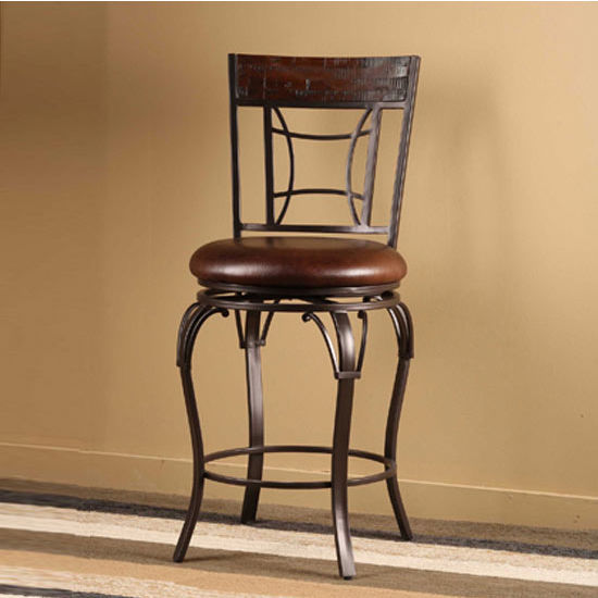 Hillsdale Furniture Granada Swivel Counter Stool, Dark Chestnut Finish, Brown Vinyl Seat