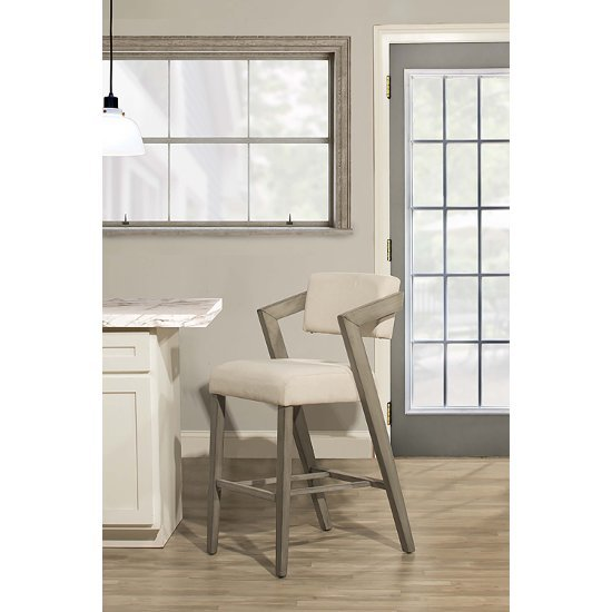 """Hillsdale Furniture Snyder Non-Swivel Counter Stool  in Aged Gray Finish and Ecru Fabric, 22-1/2"""" W x 25-1/2"""" D x 37"""" H"""