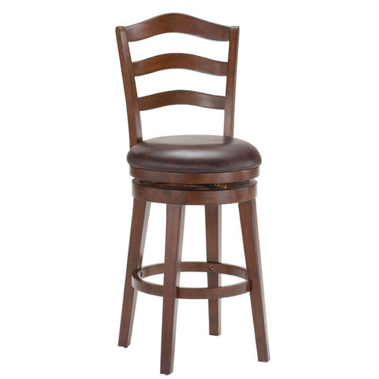 Hillsdale Furniture Windsor Swivel Counter Stool, Brown Cherry Finish, Brown Vinyl Seat