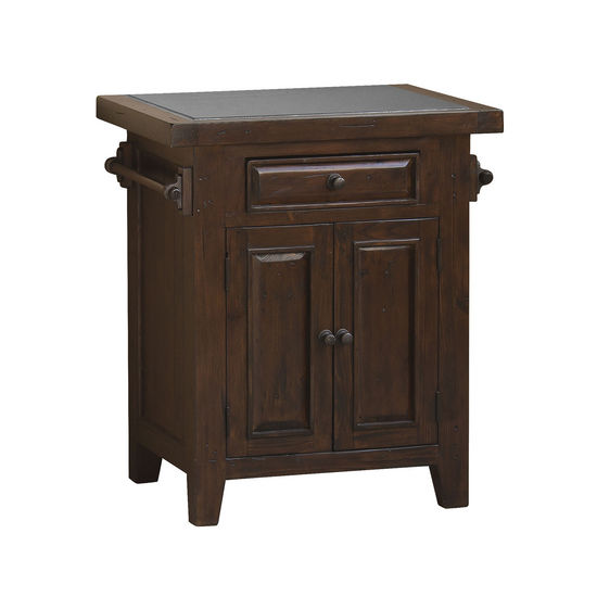 Tuscan Retreat Small Granite Top Kitchen Island, Rustic Mahogany