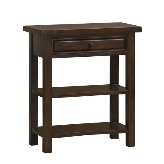 Tuscan Retreat Single Drawer Console Table, Rustic Mahogany