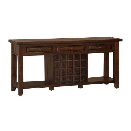 Tuscan Retreat Sideboard w/ 20 Bottle Wine Storage, Rustic Mahogany
